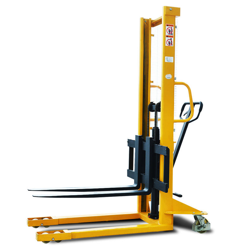 Channel Steel 1100mm Fork 1.6m Straddle Manual Pallet Stacker